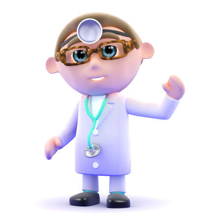 3d render of a doctor waving hello photo