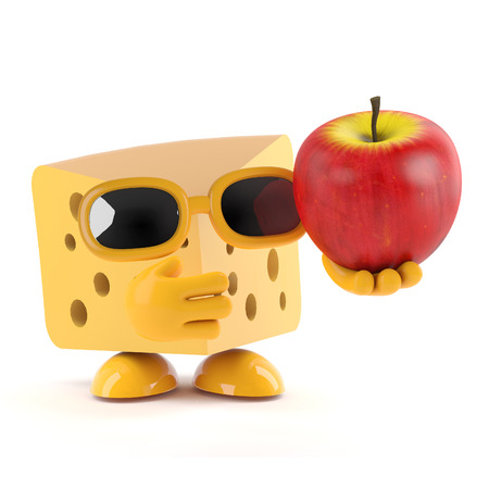 gouda: 3d render of a cheese holding an apple