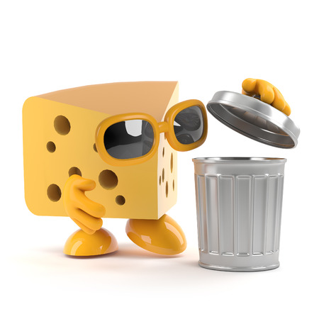 gouda: 3d render of a cheese looking into a waste bin Stock Photo