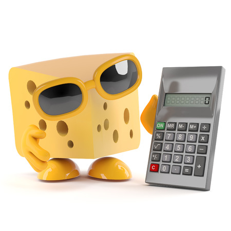 gouda: 3d render of a cheese character using a calculator