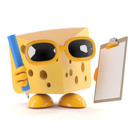 organise: 3d render of a cheese character with a clipboard and pencil