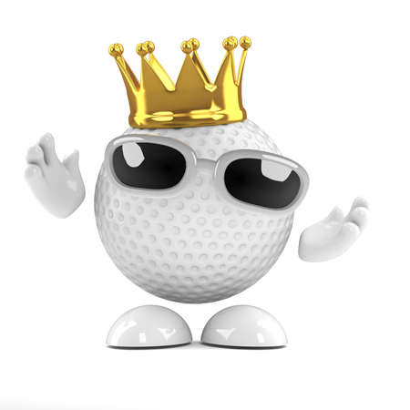 3d render of a golf ball wearing a gold crown photo