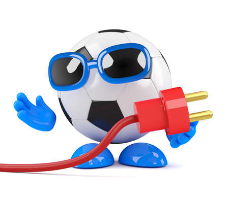 power cord: 3d render of a football character holding a power cord
