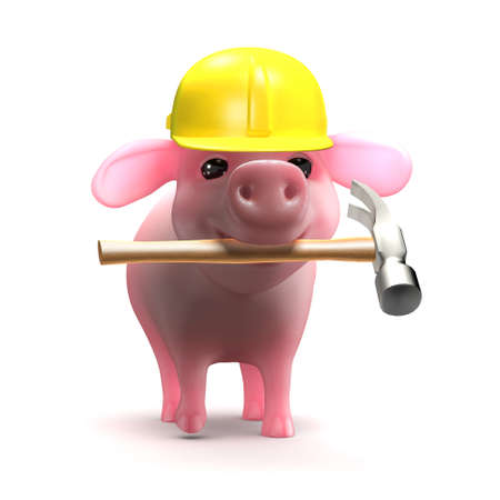 trotters: 3d render of a piglet wearing a hard hat and holding a hammer in his mouth
