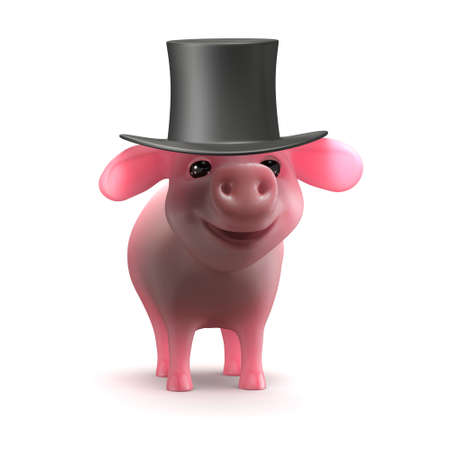 trotters: 3d render of a piglet in a top hat Stock Photo