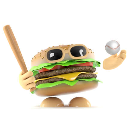 beefburger: 3d render of a beefburger playing baseball Stock Photo