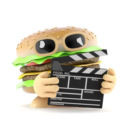 beefburger: 3d render of a beefburger with a clapperboard Stock Photo
