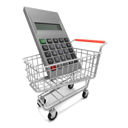 sums: 3d render of a shopping trolley with a giant calculator inside Stock Photo