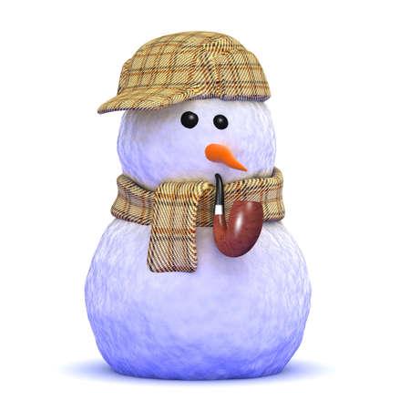tweed: 3d render of a snowman wearing a tweed deerstalker