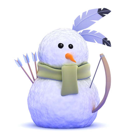 3d render of a snowman dressed as a Native American Indian photo
