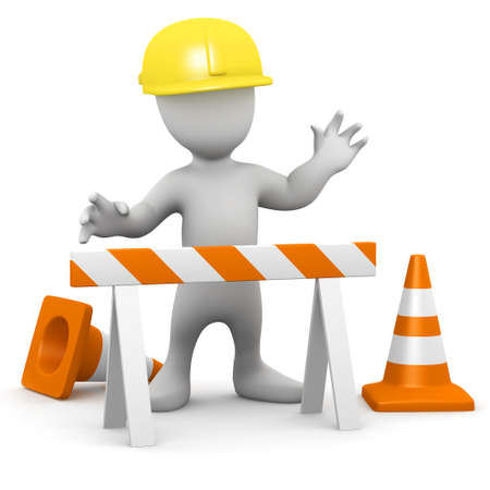 roadworks: 3d render of a little person in hard hat working at construction