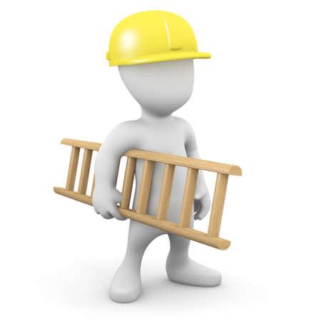 construction worker cartoon: 3d render of a little man in hard hat carrying a ladder