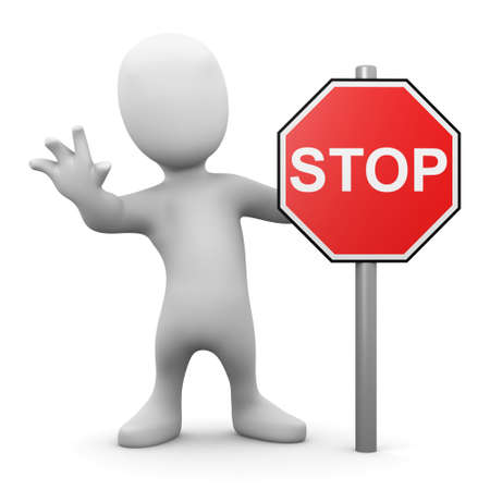 3d render of a little man with a stop sign photo