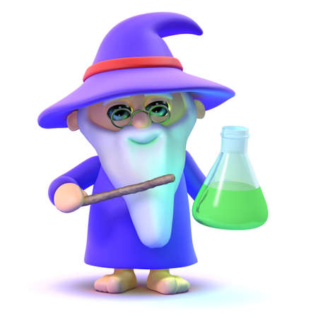 mage: 3d render of a wizard with a potion in a glass Stock Photo