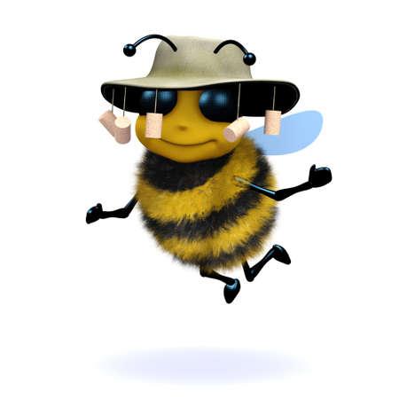 pollinate: 3d render of a honey bee wearing an Australian bush hat