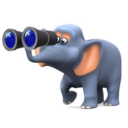 birdwatcher: 3d render of an elephant looking through binoculars