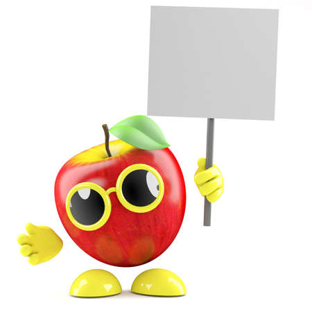 3d render of an apple with a placard photo