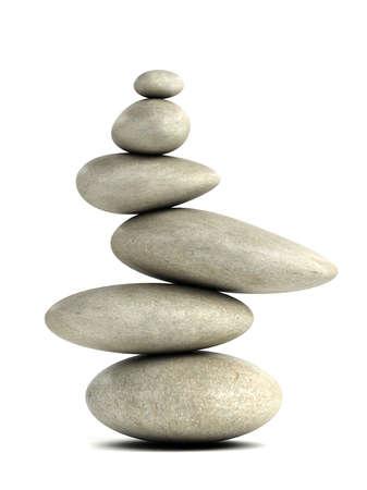 piedras zen: 3d rinden de un montón de piedras lisas en el arreglo calma