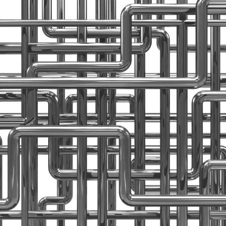 drainage: 3d render of steel pipes background Stock Photo