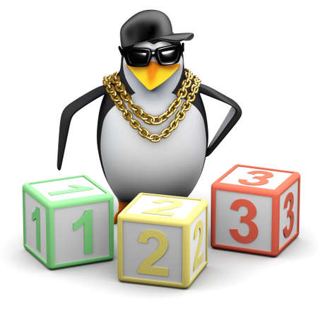 3d render of a penguin with counting blocks photo