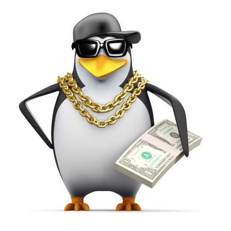 3d render of a penguin holding a wad of US Dollars photo