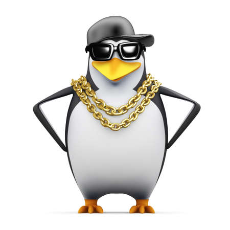 3d render of a penguin with hands (!) on hips photo
