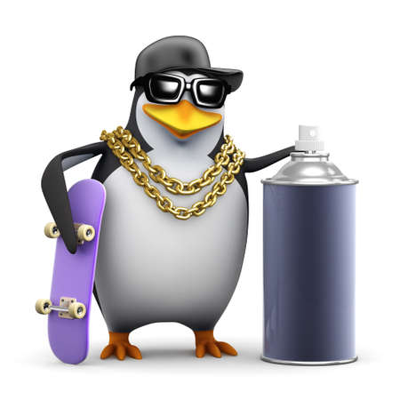 3d render of a penguin with a skateboard and spraycan photo