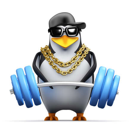 3d render of a penguin lifting weights photo