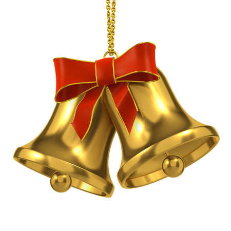 campanas de navidad: 3d de dos campanas de navidad de oro y el arco Foto de archivo
