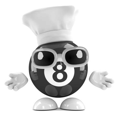 eight ball: 3d render of an eight ball character dressed as a chef Stock Photo