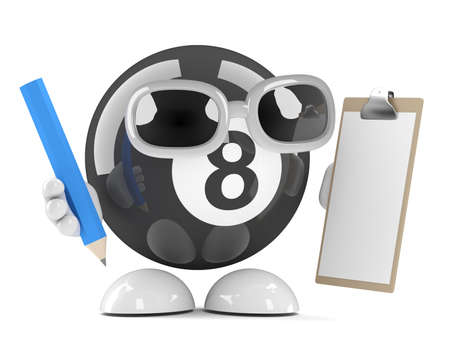 eight ball: 3d render of an eight ball character clipboard and pencil Stock Photo