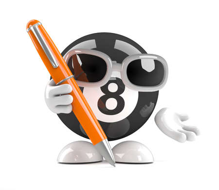 eight ball: 3d render of an eight ball character writing with a pen