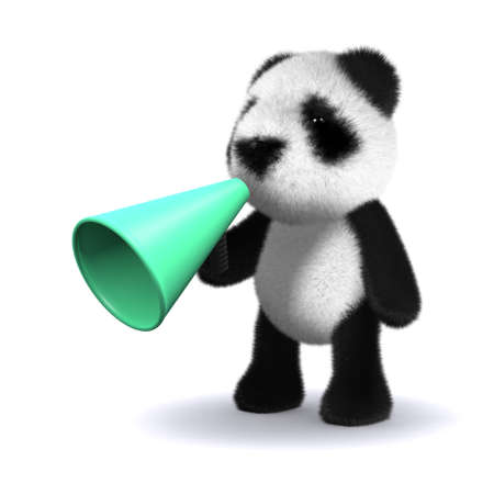 loudhailer: 3d rinden de un oso panda beb� usando un meg�fono