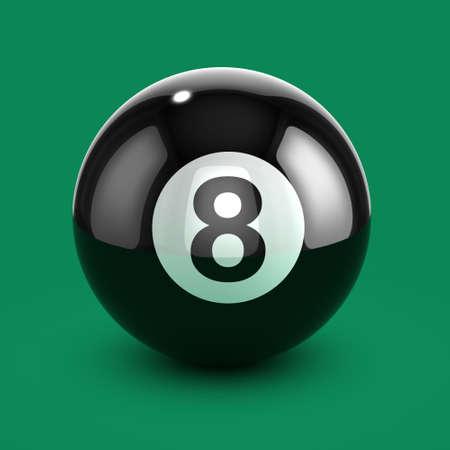 bola ocho: 3d de una bola ocho descansando en fieltro verde Foto de archivo