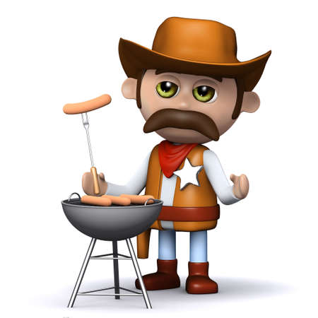 3d render of a cowboy with a barbeque photo