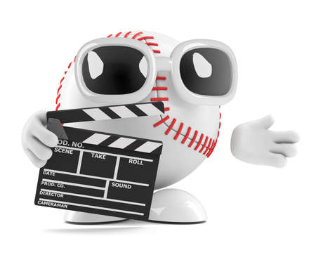 3d render of a baseball character with a clapperboard photo