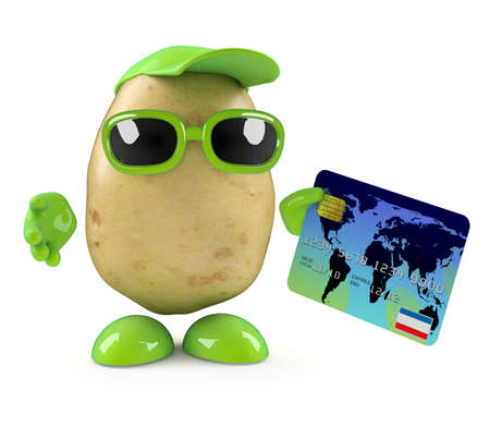 3d render of a potato character paying by debit card photo