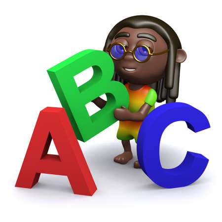 3d render of a rastafarian with letters of the alphabet