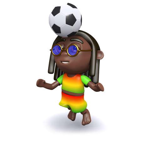 jah: 3d render of a rastafarian heading the soccer ball