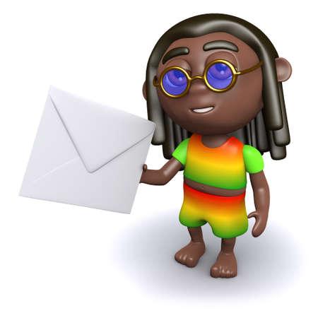 dreads: 3d render of a rastafarian holding an envelope Stock Photo