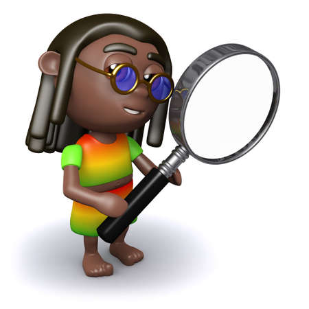 jah: 3d render of a rastafarian looking through a magnifying glass