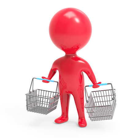 uomo rosso: 3d render of a little red man carrying shopping baskets
