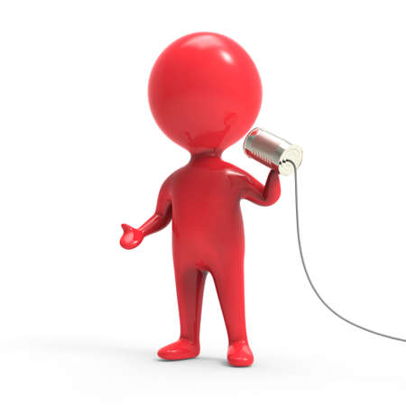 red man: 3d render of a little red man holding a tin can on a string Stockfoto