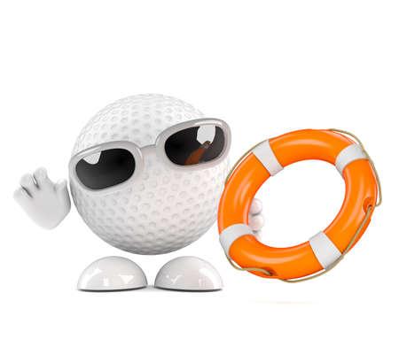 life belt: 3d render of a golf ball offeriing a life belt