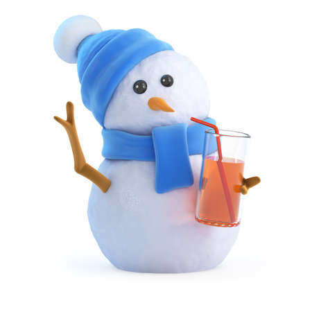 socialise: 3d render of a snowman in a blue scarf and hat having a nice cold drink at the party