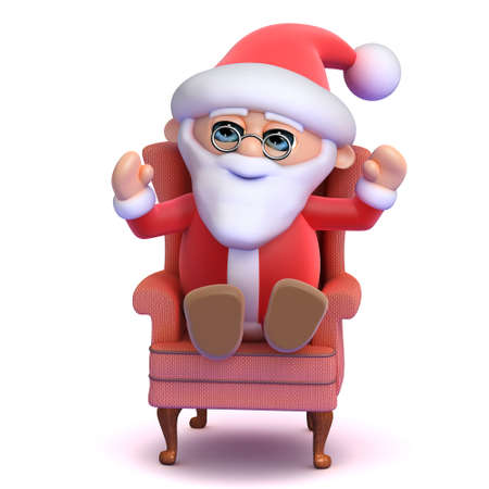 comfy: 3d render of Santa Claus sitting in a comfy chair
