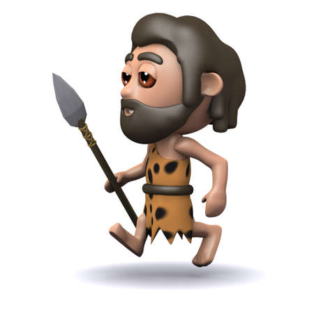 3d render of a caveman running with a spear photo