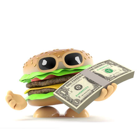 wad: 3d render of a beefburger with a wad of US Dollars
