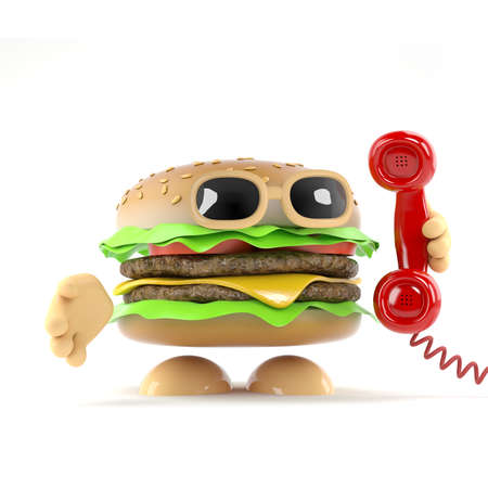 3d render of a beefburger answering the telephone photo