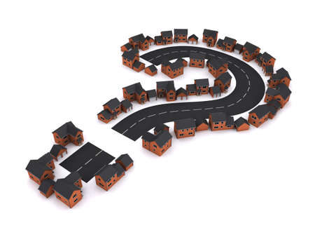 estate planning: 3d render of a housing development in the shape of a question mark